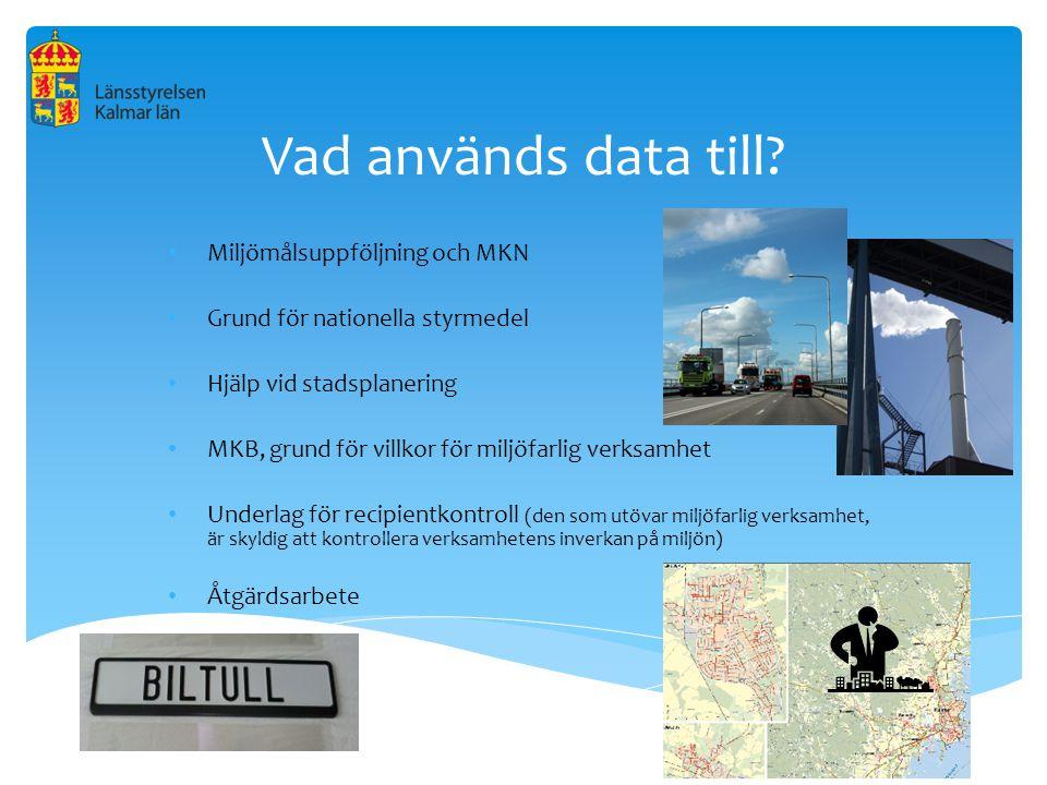Vad används data till? Miljömålsuppföljning och MKN Grund för nationella styrmedel Hjälp vid stadsplanering MKB, grund för villkor för miljöfarlig ver