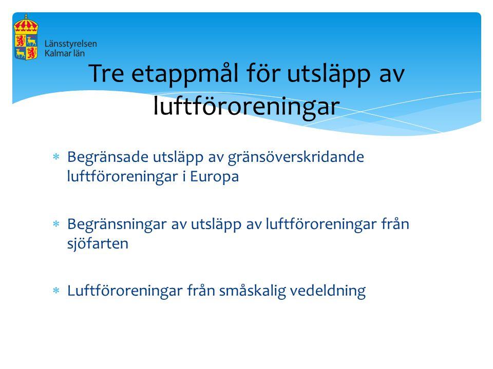 Begränsade utsläpp av gränsöverskridande luftföroreningar i Europa  Begränsningar av utsläpp av luftföroreningar från sjöfarten  Luftföroreningar