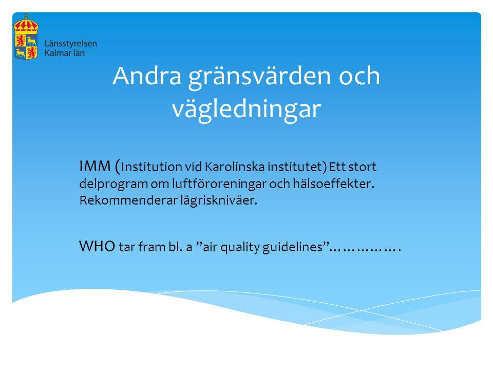 Andra gränsvärden och vägledningar IMM ( Institution vid Karolinska institutet) Ett stort delprogram om luftföroreningar och hälsoeffekter. Rekommende
