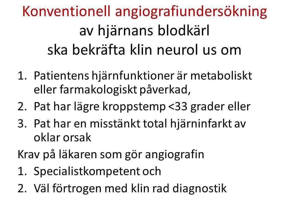 Konventionell angiografiundersökning av hjärnans blodkärl ska bekräfta klin neurol us om 1.Patientens hjärnfunktioner är metaboliskt eller farmakologi