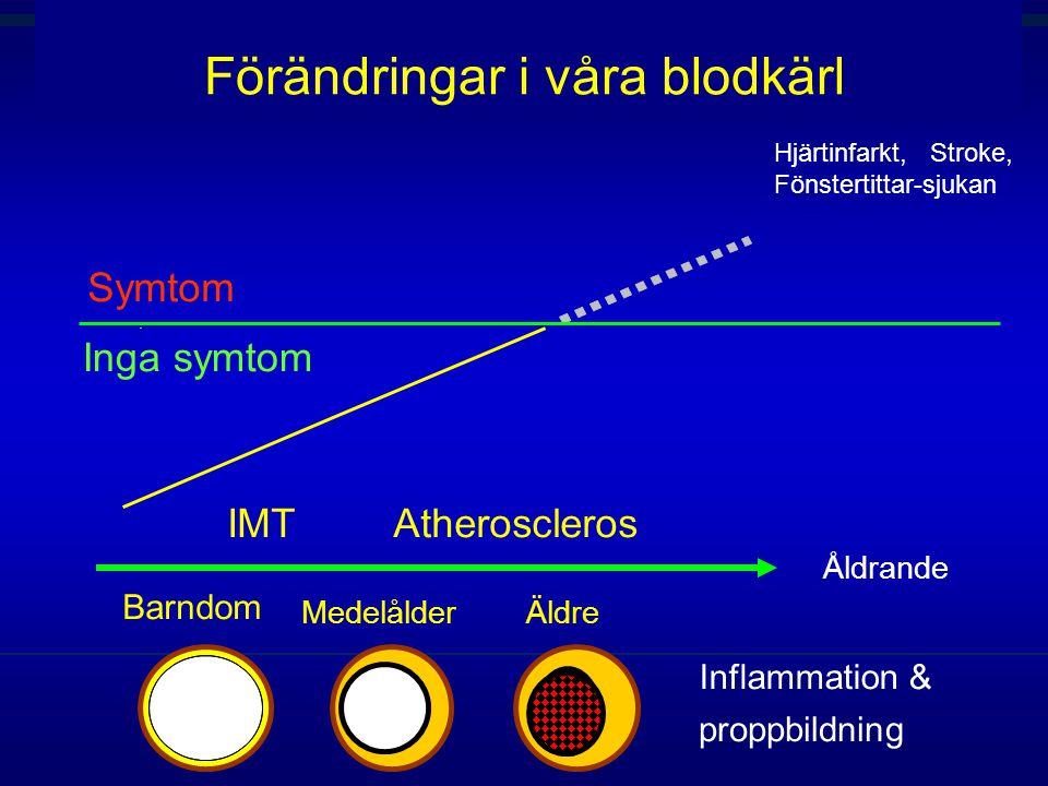  IMT Inflammation & proppbildning Barndom ÄldreMedelålder Inga symtom Symtom Förändringar i våra blodkärl Hjärtinfarkt, Stroke, Fönstertittar-sjukan  Atheroscleros Åldrande