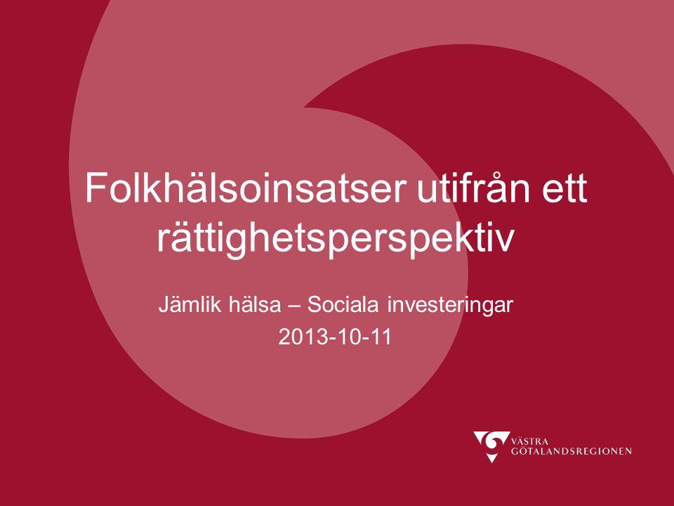 Rättighetskommitténs kansli Folkhälsoinsatser utifrån ett rättighetsperspektiv Jämlik hälsa – Sociala investeringar 2013-10-11