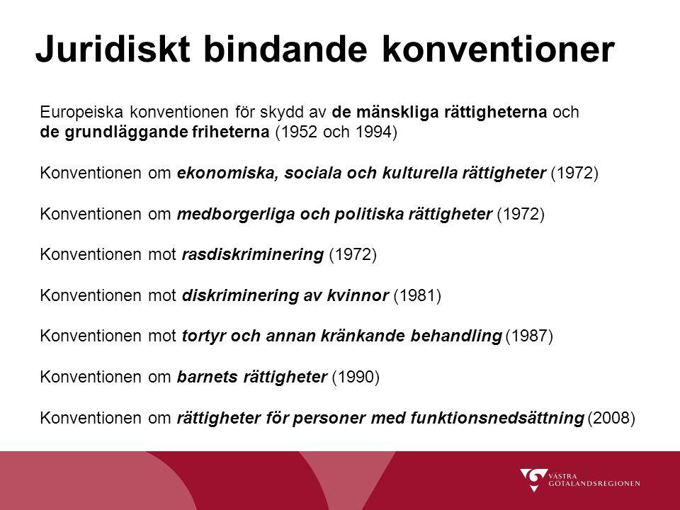 Juridiskt bindande konventioner Europeiska konventionen för skydd av de mänskliga rättigheterna och de grundläggande friheterna (1952 och 1994) Konven