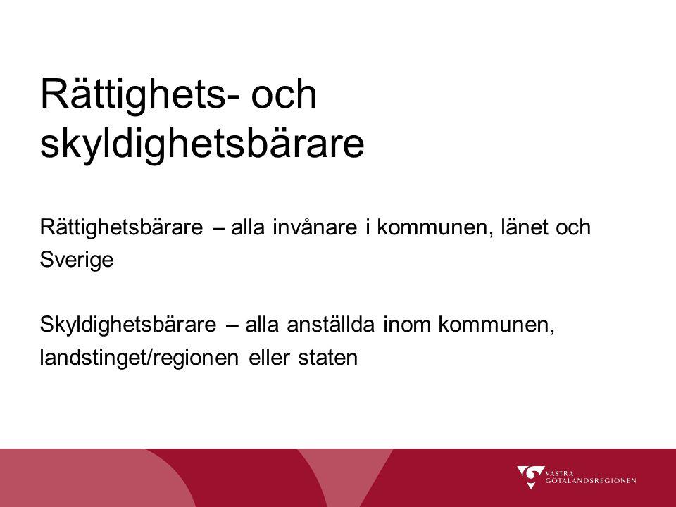 Rättighets- och skyldighetsbärare Rättighetsbärare – alla invånare i kommunen, länet och Sverige Skyldighetsbärare – alla anställda inom kommunen, lan