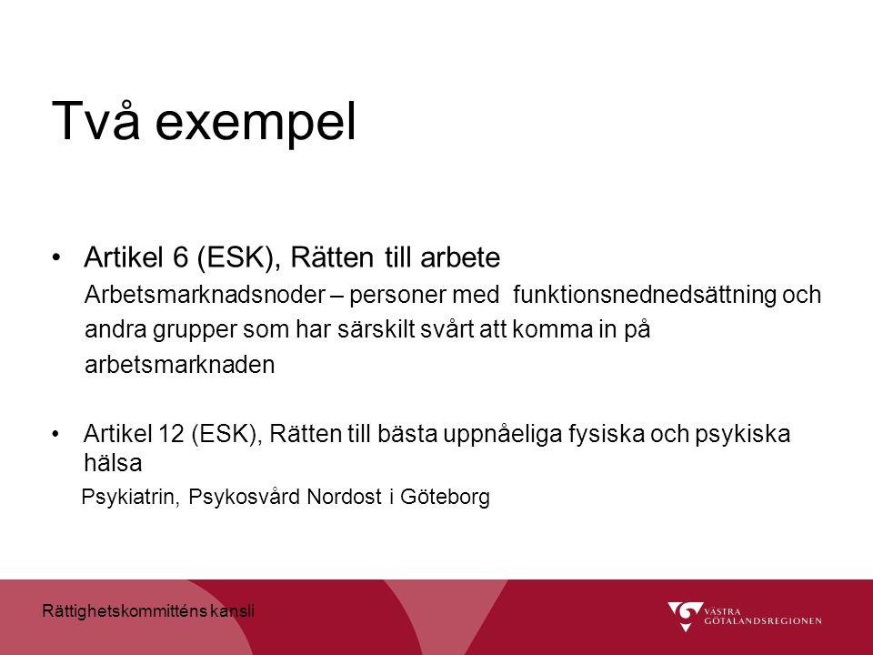 Två exempel Artikel 6 (ESK), Rätten till arbete Arbetsmarknadsnoder – personer med funktionsnednedsättning och andra grupper som har särskilt svårt at