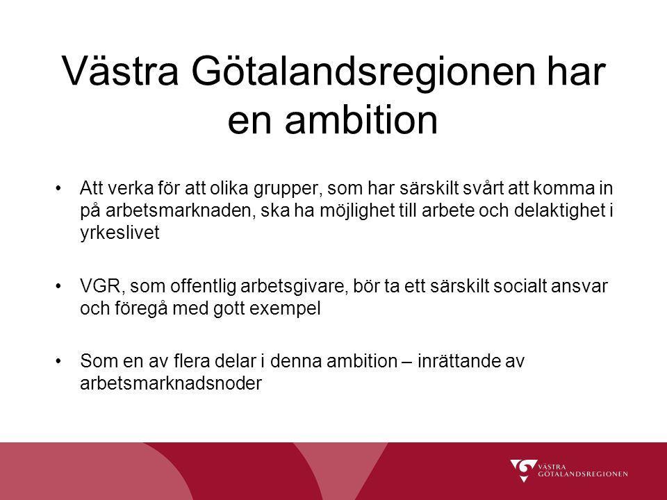 Västra Götalandsregionen har en ambition Att verka för att olika grupper, som har särskilt svårt att komma in på arbetsmarknaden, ska ha möjlighet til
