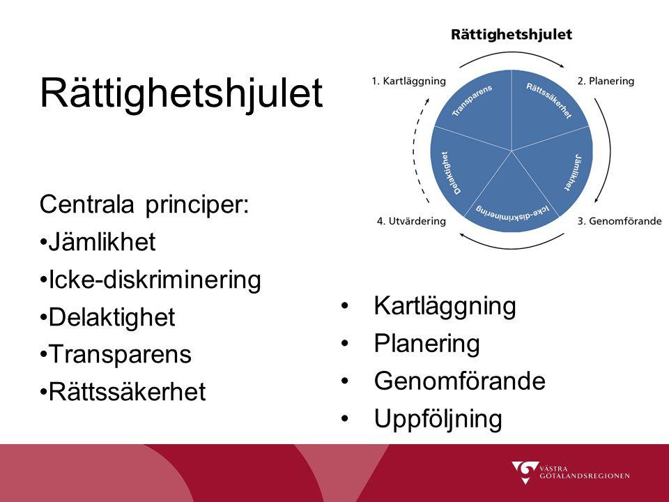 Rättighetshjulet Centrala principer: Jämlikhet Icke-diskriminering Delaktighet Transparens Rättssäkerhet Kartläggning Planering Genomförande Uppföljni
