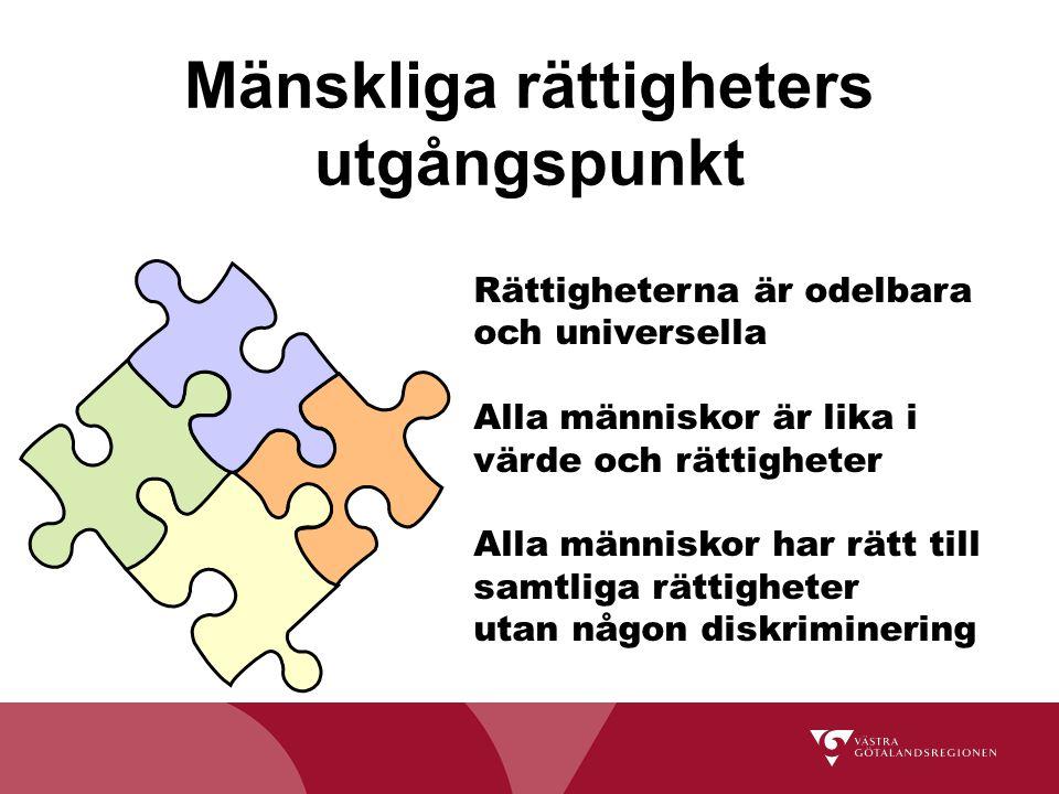 Mänskliga rättigheters utgångspunkt Rättigheterna är odelbara och universella Alla människor är lika i värde och rättigheter Alla människor har rätt t
