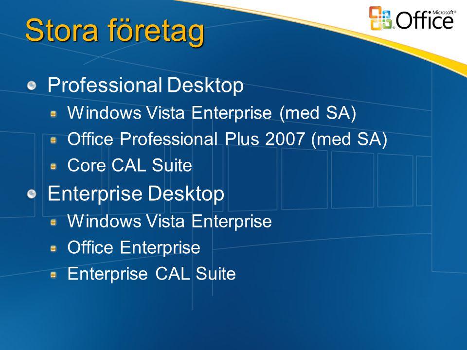 Stora företag Professional Desktop Windows Vista Enterprise (med SA) Office Professional Plus 2007 (med SA) Core CAL Suite Enterprise Desktop Windows Vista Enterprise Office Enterprise Enterprise CAL Suite