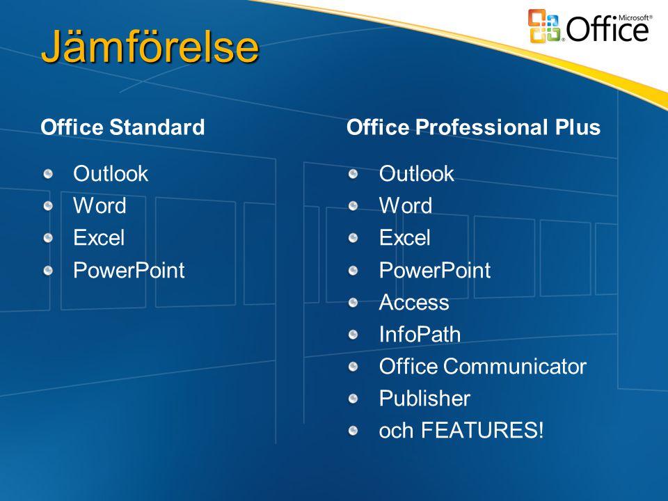 Jämförelse Office Standard Outlook Word Excel PowerPoint Office Professional Plus Outlook Word Excel PowerPoint Access InfoPath Office Communicator Publisher och FEATURES!