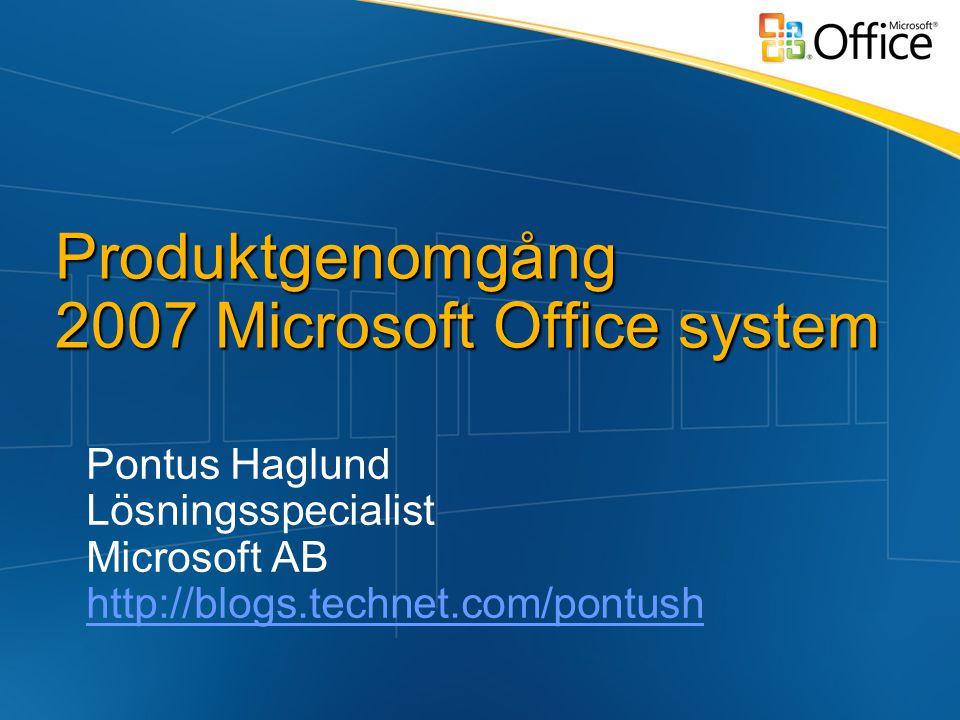 Produktgenomgång 2007 Microsoft Office system Pontus Haglund Lösningsspecialist Microsoft AB http://blogs.technet.com/pontush