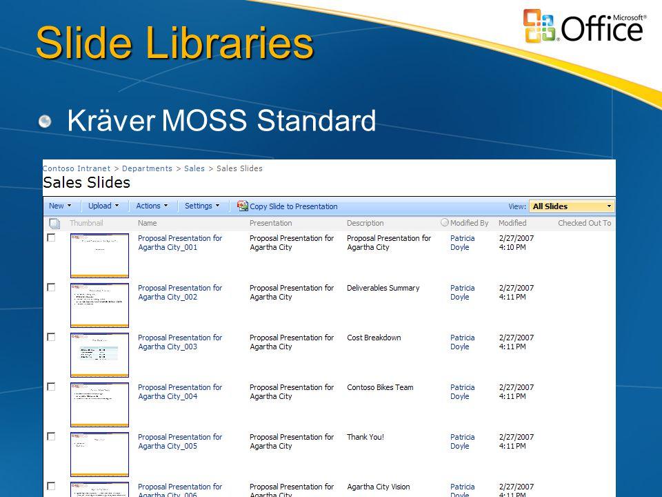 Slide Libraries Kräver MOSS Standard
