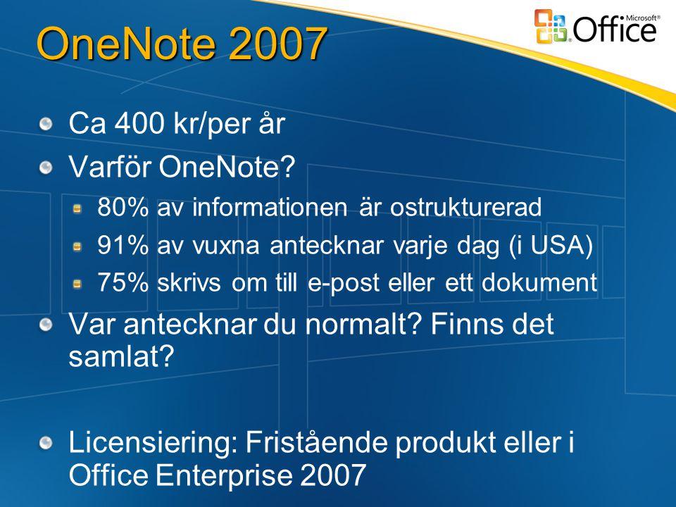 OneNote 2007 Ca 400 kr/per år Varför OneNote.