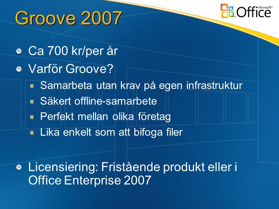 Groove 2007 Ca 700 kr/per år Varför Groove.