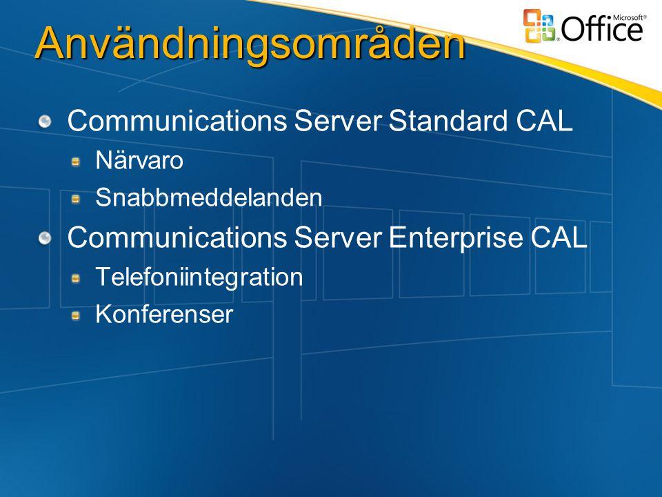 Användningsområden Communications Server Standard CAL Närvaro Snabbmeddelanden Communications Server Enterprise CAL Telefoniintegration Konferenser