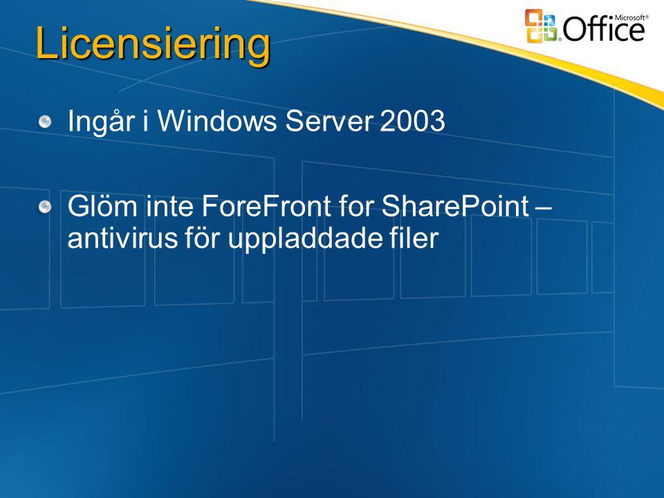 Licensiering Ingår i Windows Server 2003 Glöm inte ForeFront for SharePoint – antivirus för uppladdade filer