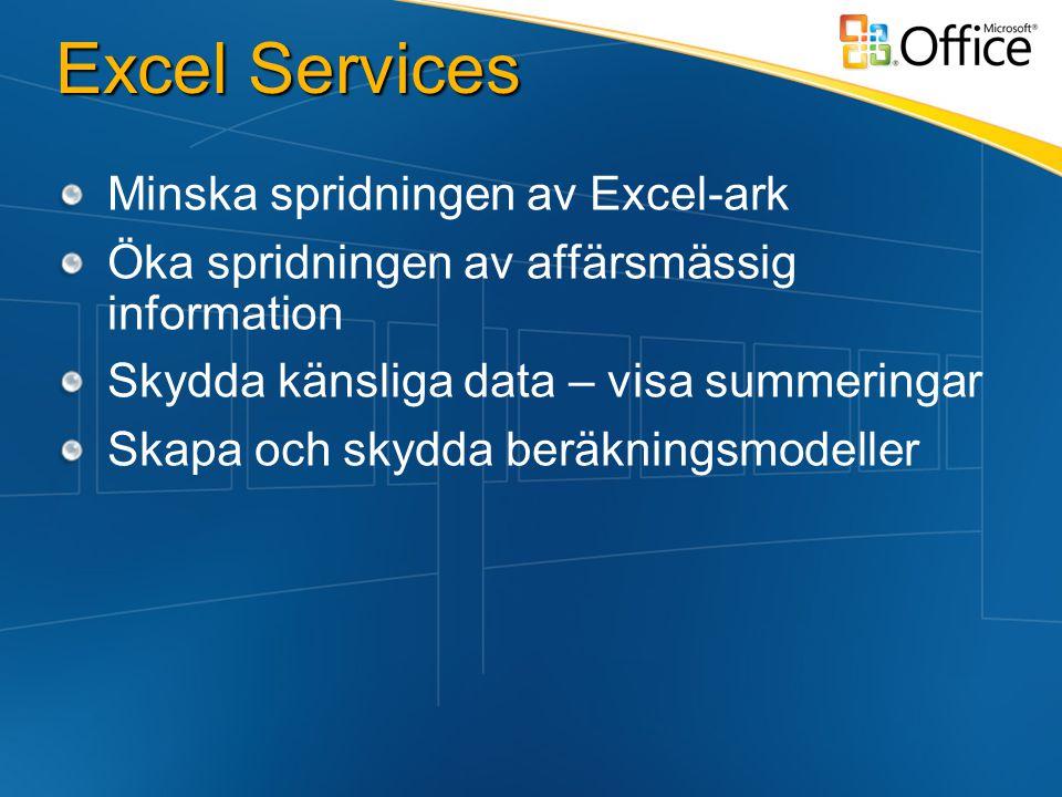 Excel Services Minska spridningen av Excel-ark Öka spridningen av affärsmässig information Skydda känsliga data – visa summeringar Skapa och skydda beräkningsmodeller