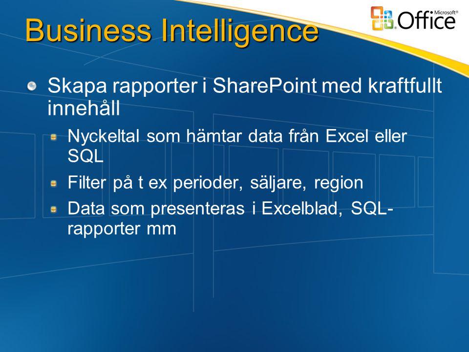 Business Intelligence Skapa rapporter i SharePoint med kraftfullt innehåll Nyckeltal som hämtar data från Excel eller SQL Filter på t ex perioder, säljare, region Data som presenteras i Excelblad, SQL- rapporter mm