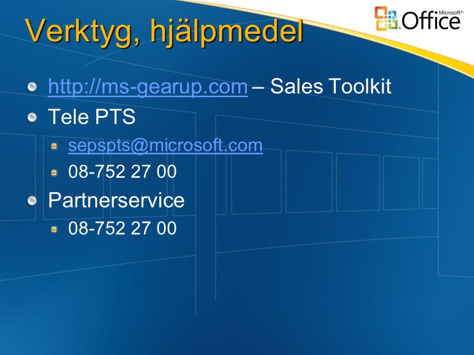 Verktyg, hjälpmedel http://ms-gearup.comhttp://ms-gearup.com – Sales Toolkit Tele PTS sepspts@microsoft.com 08-752 27 00 Partnerservice 08-752 27 00