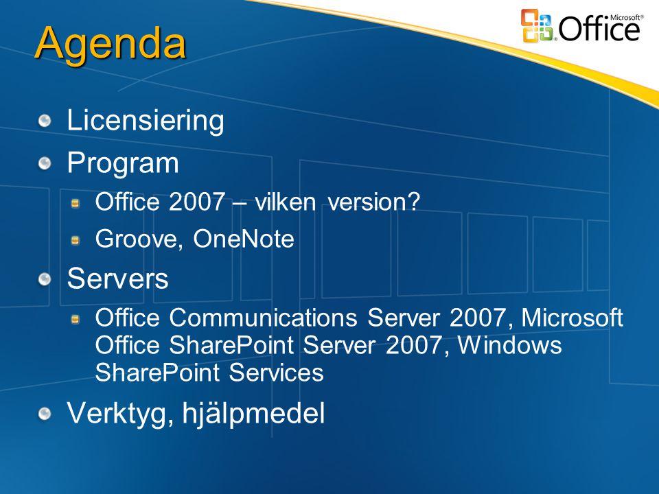 Agenda Licensiering Program Office 2007 – vilken version.
