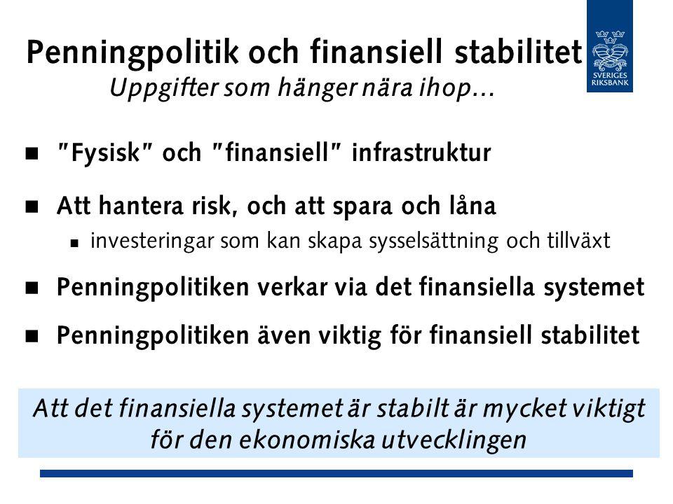 Penningpolitik och finansiell stabilitet Uppgifter som hänger nära ihop… Fysisk och finansiell infrastruktur Att hantera risk, och att spara och låna investeringar som kan skapa sysselsättning och tillväxt Penningpolitiken verkar via det finansiella systemet Penningpolitiken även viktig för finansiell stabilitet Att det finansiella systemet är stabilt är mycket viktigt för den ekonomiska utvecklingen