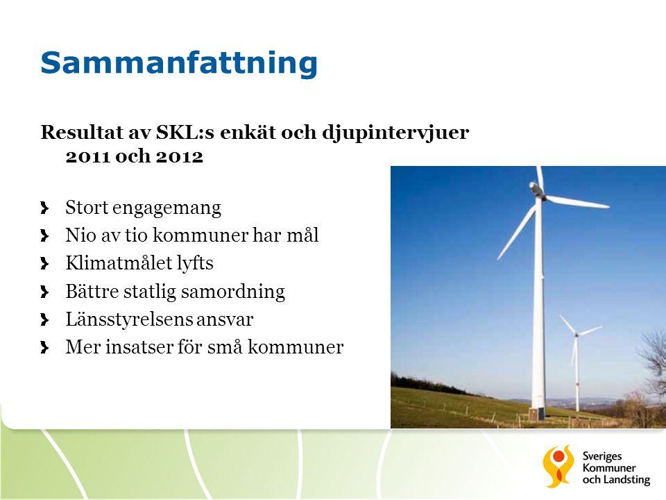 Sammanfattning Resultat av SKL:s enkät och djupintervjuer 2011 och 2012 Stort engagemang Nio av tio kommuner har mål Klimatmålet lyfts Bättre statlig