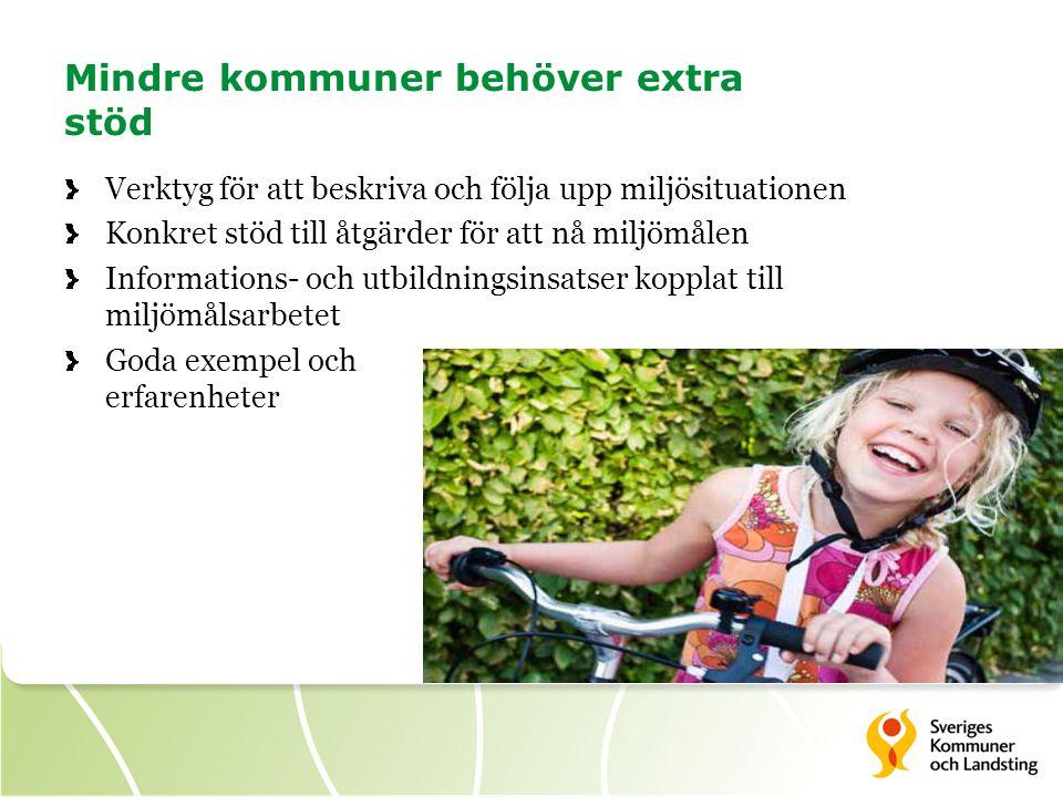 Miljömålsstöd för kommuner Ta fram ett material som stöd för kommunerna i deras miljömålsarbete.