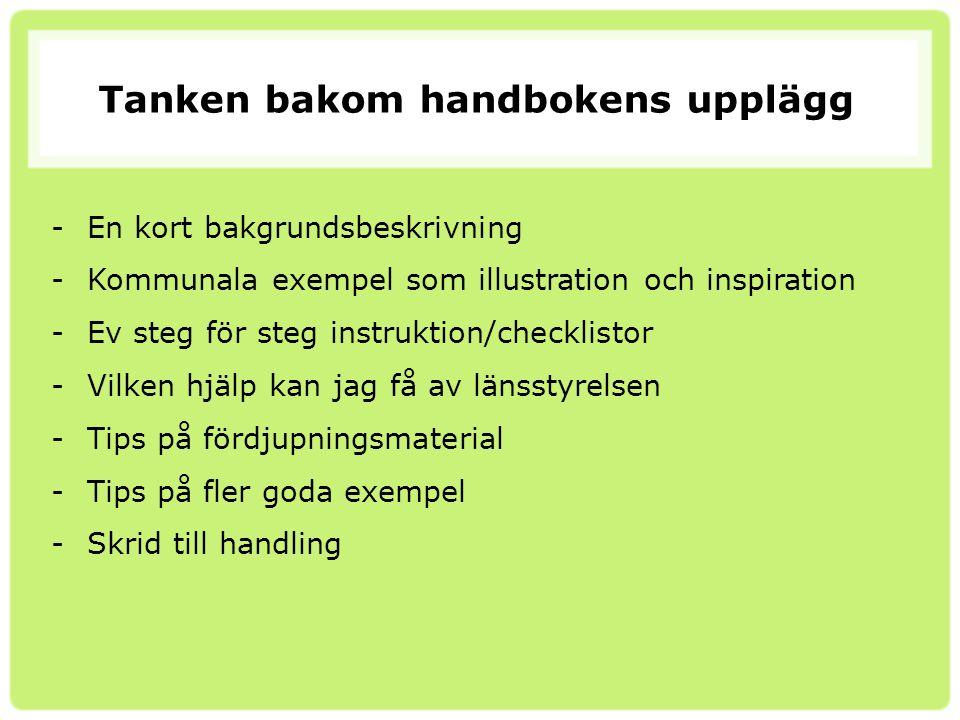 Tanken bakom handbokens upplägg -En kort bakgrundsbeskrivning -Kommunala exempel som illustration och inspiration -Ev steg för steg instruktion/checkl