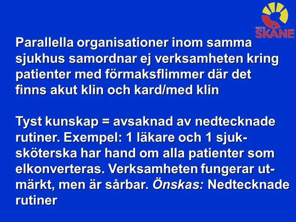 Parallella organisationer inom samma sjukhus samordnar ej verksamheten kring patienter med förmaksflimmer där det finns akut klin och kard/med klin Ty