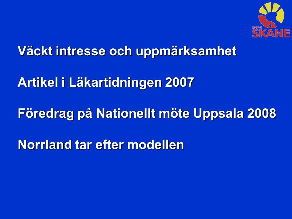 Väckt intresse och uppmärksamhet Artikel i Läkartidningen 2007 Föredrag på Nationellt möte Uppsala 2008 Norrland tar efter modellen
