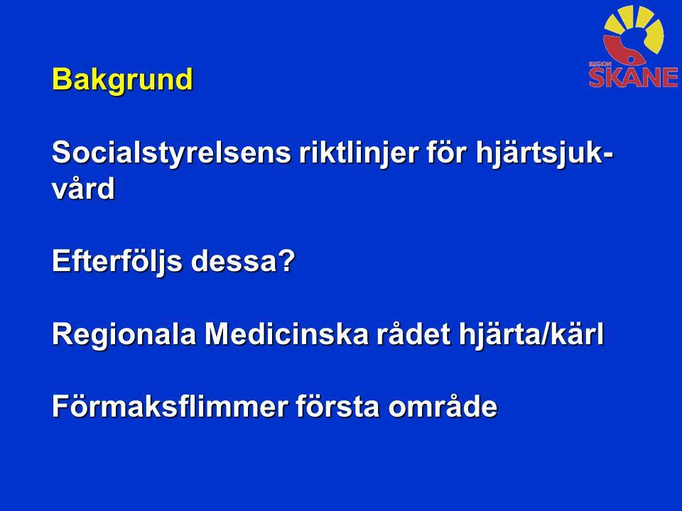 Bakgrund Socialstyrelsens riktlinjer för hjärtsjuk- vård Efterföljs dessa? Regionala Medicinska rådet hjärta/kärl Förmaksflimmer första område