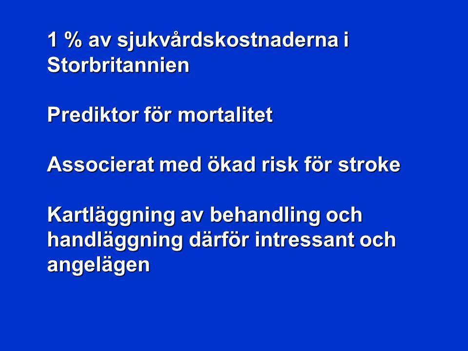 1 % av sjukvårdskostnaderna i Storbritannien Prediktor för mortalitet Associerat med ökad risk för stroke Kartläggning av behandling och handläggning