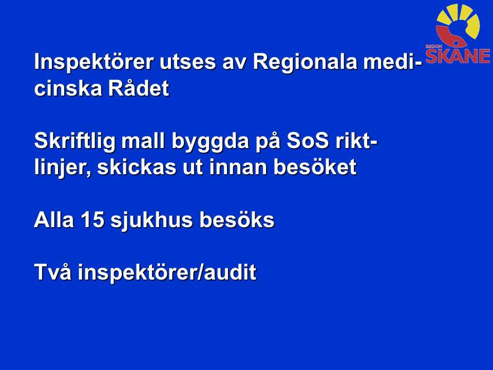 Inspektörer utses av Regionala medi- cinska Rådet Skriftlig mall byggda på SoS rikt- linjer, skickas ut innan besöket Alla 15 sjukhus besöks Två inspektörer/audit