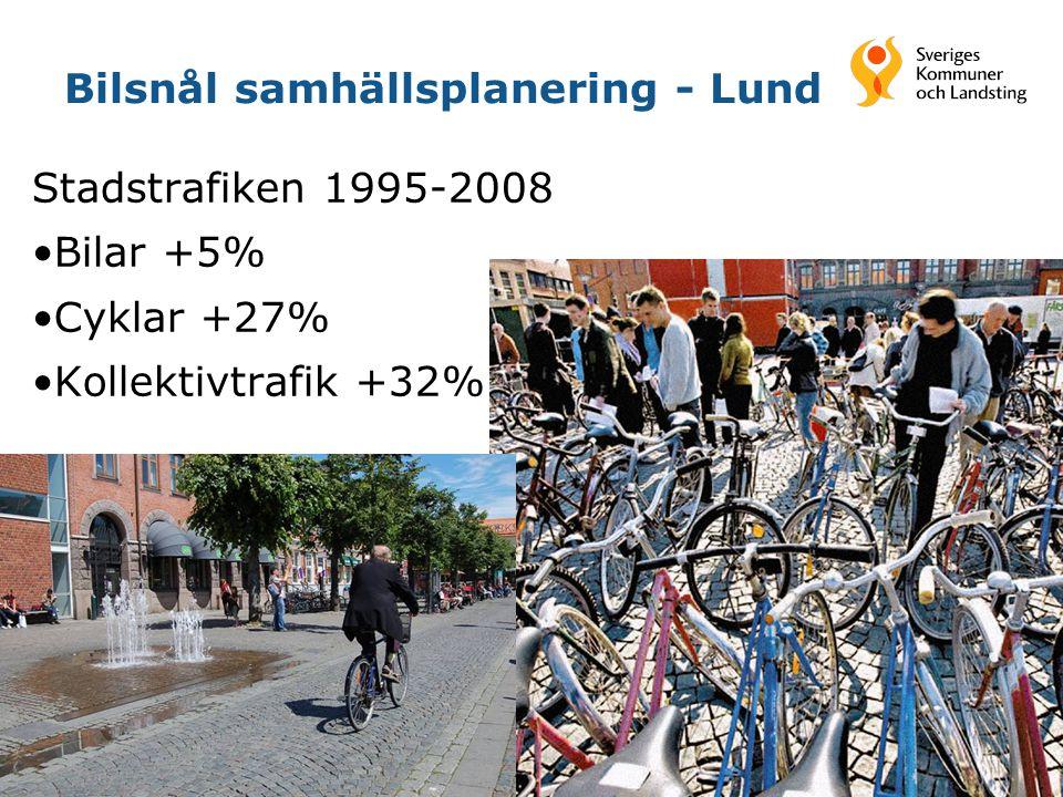 13 Bilsnål samhällsplanering - Lund Stadstrafiken 1995-2008 Bilar +5% Cyklar +27% Kollektivtrafik +32%