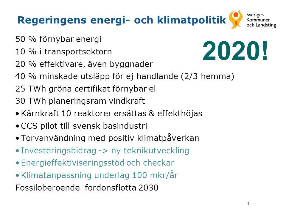 4 Regeringens energi- och klimatpolitik 50 % förnybar energi 10 % i transportsektorn 20 % effektivare, även byggnader 40 % minskade utsläpp för ej han