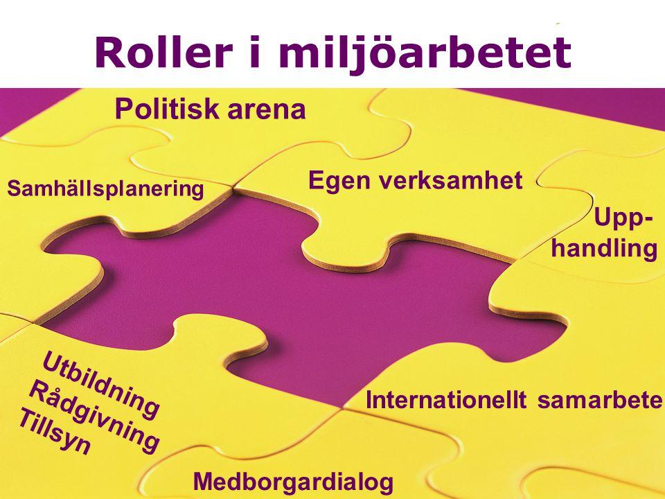 8 Roller i miljöarbetet Internationellt samarbete Upp- handling Egen verksamhet Politisk arena Samhällsplanering Utbildning Rådgivning Tillsyn Interna