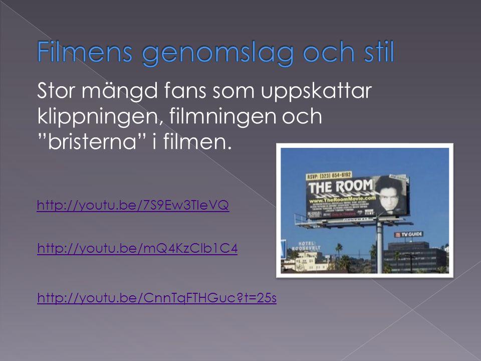 http://youtu.be/7S9Ew3TIeVQ Stor mängd fans som uppskattar klippningen, filmningen och bristerna i filmen.
