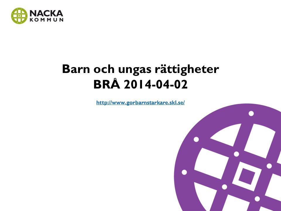 Barn och ungas rättigheter BRÅ 2014-04-02 http://www.gorbarnstarkare.skl.se/ http://www.gorbarnstarkare.skl.se/