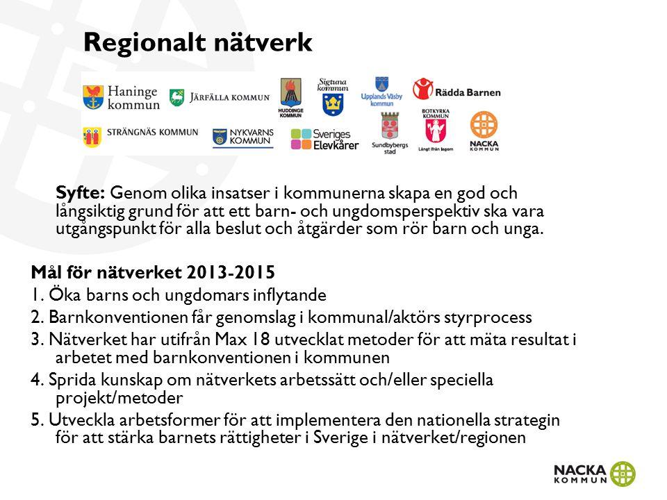 Regionalt nätverk Syfte: Genom olika insatser i kommunerna skapa en god och långsiktig grund för att ett barn- och ungdomsperspektiv ska vara utgångspunkt för alla beslut och åtgärder som rör barn och unga.