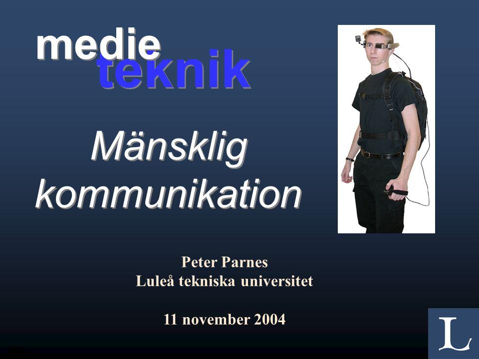1/55 Mänsklig kommunikation Peter Parnes Luleå tekniska universitet 11 november 2004 teknik medie