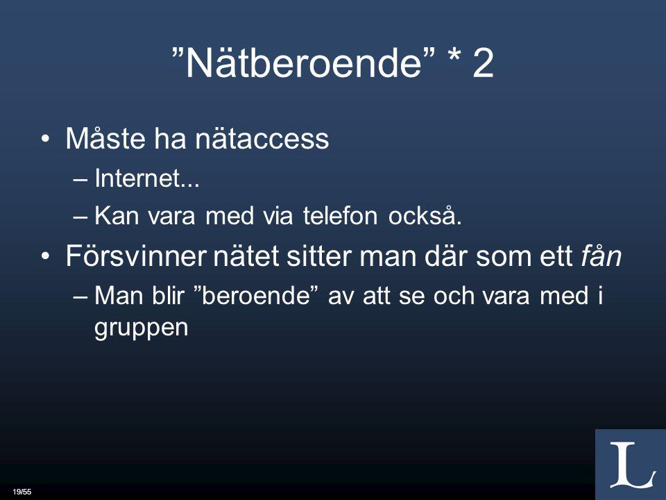 19/55 Nätberoende * 2 Måste ha nätaccess –Internet...