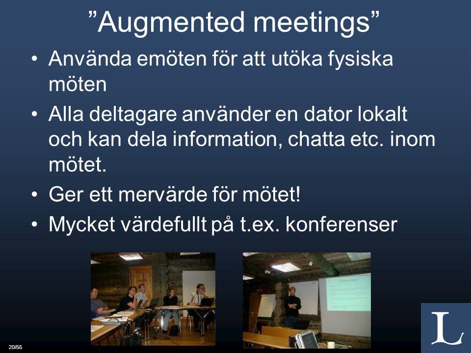 20/55 Augmented meetings Använda emöten för att utöka fysiska möten Alla deltagare använder en dator lokalt och kan dela information, chatta etc.