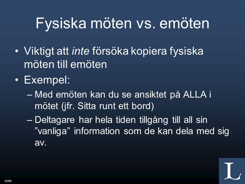 22/55 Fysiska möten vs.