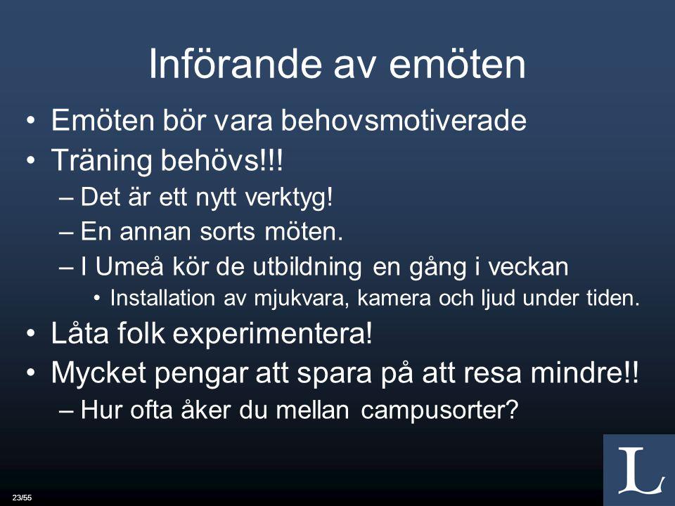 23/55 Införande av emöten Emöten bör vara behovsmotiverade Träning behövs!!.