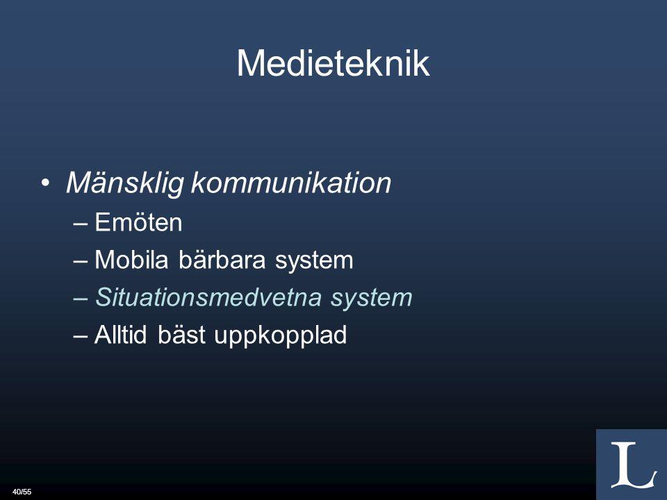 40/55 Medieteknik Mänsklig kommunikation –Emöten –Mobila bärbara system –Situationsmedvetna system –Alltid bäst uppkopplad