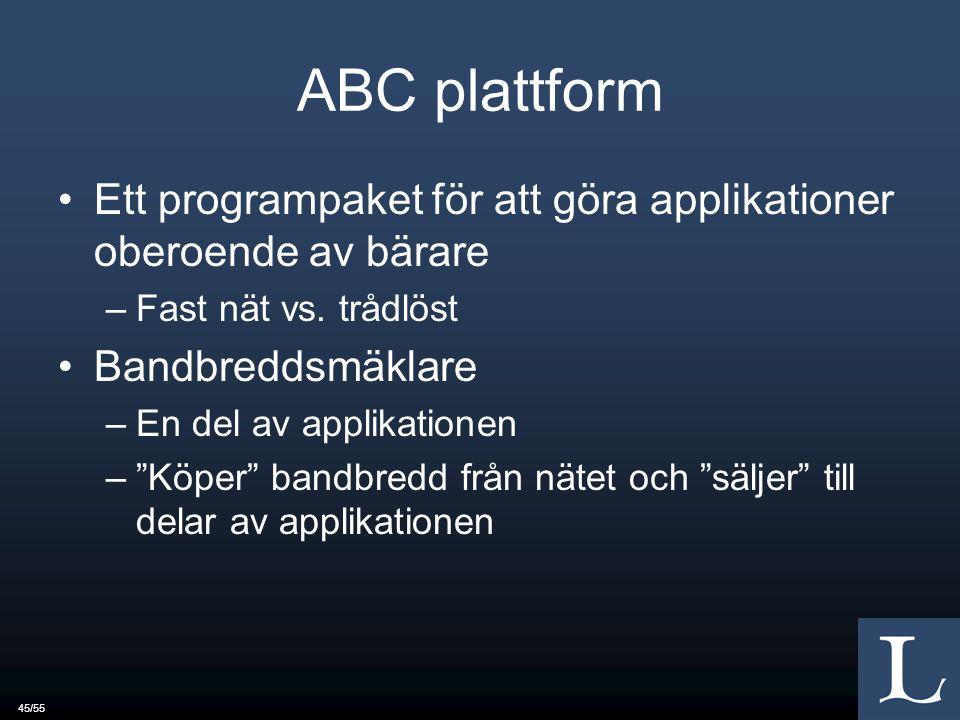 45/55 ABC plattform Ett programpaket för att göra applikationer oberoende av bärare –Fast nät vs.