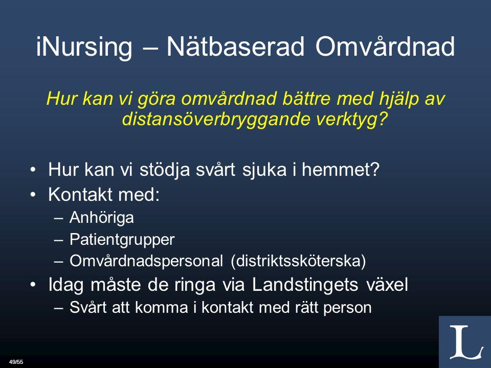 49/55 iNursing – Nätbaserad Omvårdnad Hur kan vi göra omvårdnad bättre med hjälp av distansöverbryggande verktyg.