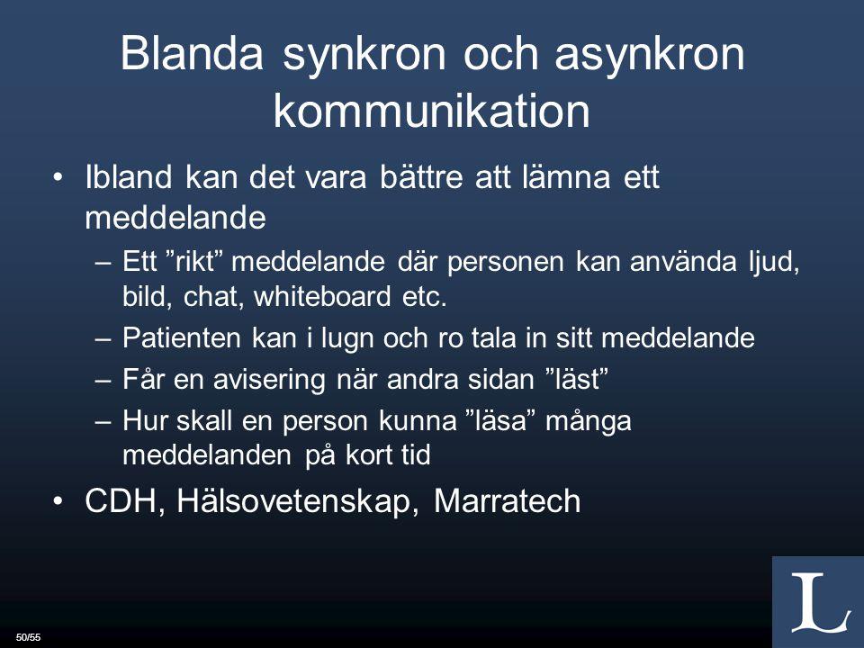 50/55 Blanda synkron och asynkron kommunikation Ibland kan det vara bättre att lämna ett meddelande –Ett rikt meddelande där personen kan använda ljud, bild, chat, whiteboard etc.