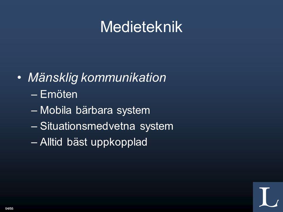 54/55 Medieteknik Mänsklig kommunikation –Emöten –Mobila bärbara system –Situationsmedvetna system –Alltid bäst uppkopplad