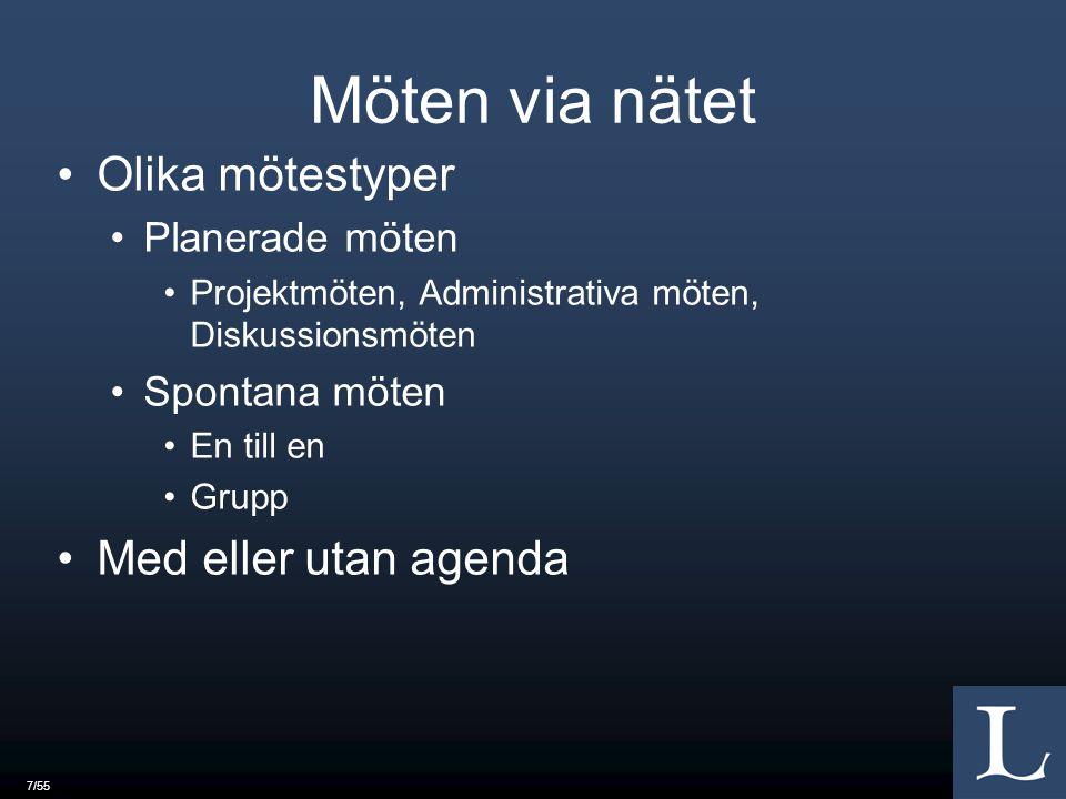 7/55 Möten via nätet Olika mötestyper Planerade möten Projektmöten, Administrativa möten, Diskussionsmöten Spontana möten En till en Grupp Med eller utan agenda